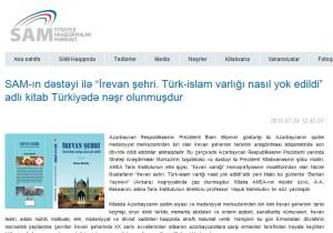 """SAM-ın dəstəyi ilə """"İrevan şehri. Türk-islam varlığı nasıl yok edildi"""" adlı kitab Türkiyədə nəşr olunmuşdur"""