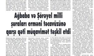 Ağbaba və Şörəyel milli şuraları erməni təcavüzünə qarşı qəti müqavimət təşkil etdi
